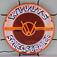 Neon sign round Willys Jeep sales and service dealership Willy's wall lamp light