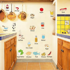 DIY Removable Happy Kitchen Foods PVC Wall Decal Vinyl Home Decor Wall Stickers