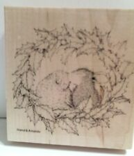 "New! House Mouse ""Wreath Kiss"" WM Rubber Stamp"