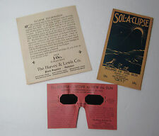 RARE Lot - Solar Eclipse Glasses & Ephemera 1932 Advertising Optical Company