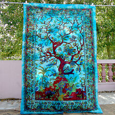 Turquoise Tree Of Life Tapestry Birds throw Wall Decor Twin HDOT Love Gift Her