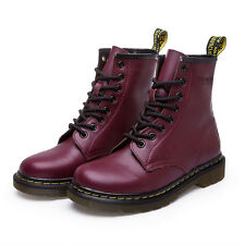 HOT Women's Martin Boots Combat Military Ankle Casual Leather Low Heel Lace-Up