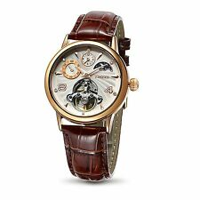 Time100 Unisex Sun&Moon Phase Skeleton Dual Time Automatic Mechanical Watch R...