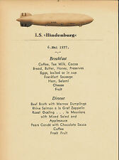 Hindenburg Rigid Airship Menu In English Reprint On Original Period 1937 Paper