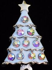GOLD WHITE ENAMEL AB CLEAR RHINESTONE CHRISTMAS TREE PIN BROOCH PENDANT JEWELRY