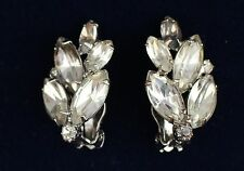 Silver tone prong set clear navettes rhinestones clip on   EARRINGS