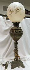 "signed Bradley & Hubbard converted figural banquet oil lamp / 23"" tall nude boy"