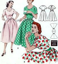 "Rare EASY Vintage 50s FULL SKIRT DRESS Sewing Pattern Bust 34"" Sz 10 Evening"