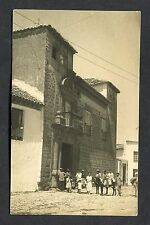C1920's Photo Card - People & Donkeys on the Street. Location Unknown.