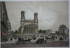 Genuine antique lithograph, ST. VINCENT DE PAUL CHURCH, PARIS, Charpentier, 1861