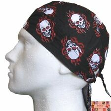 RED & BLACK SKULL TRIBAL Flame  FITTED TIED BANDANA Head Skull Cap DOO DO Du Rag