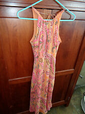 Ann Taylor Orange Pink Print Below Knee 100% Silk Dress w/Drawstring Neck NWOT 0