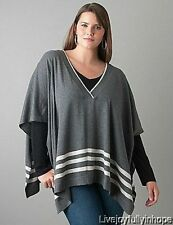 LANE BRYANT ~ Nwt NEW Size 14-20 ~ RARE! ~ Striped Pullover Poncho Sweater 1X 2X