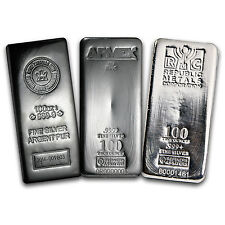 100 oz Silver Bar - Various Brands - SKU #114910