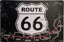 Retro De Pared De Metal signo Tin Placa Vintage Shabby Chic Garage Route 66 Usa mapa nos
