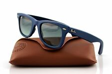 New Ray-Ban WAYFARER Genuine LEATHER Blue Square Sunglasses RB 2140 QM 1168/71