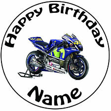 "Personalised Yamaha Motorbike Round Icing Cake Topper - Pre-cut 8"" (20cm) Circle"