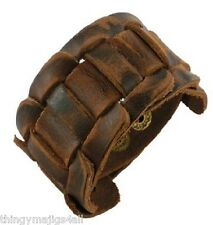 GENUINE BROWN LEATHER WEAVE WRISTBAND WRIST STRAP BRACELET CUFF STEAMPUNK MENS