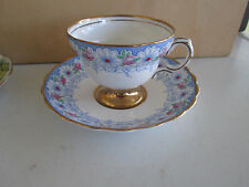 Rosina Bone China Tea Cup & Saucer Blue Border White Daisies & Pink Roses