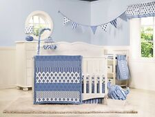 Dena Baby Boy Indigo Crib Set Blue and White 4 Piece Set