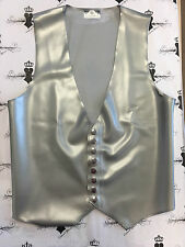 X317 **MADE+DESIGNED IN UK** Latex MENS FITTED WAISTCOAT SILVER Medium