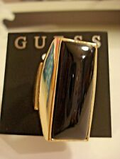 "NWT GUESS STRETCH RING GOLD TONE W/1.5"" BLACK SMOOTH STONES"