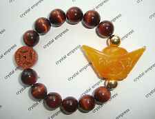 Feng Shui - Yellow Jade Ingot & I-Ching Coin with 12mm Red Tiger Eye