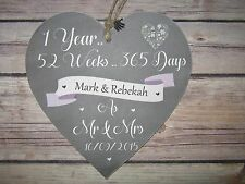 Handmade 15cm Heart Wall Plaque Personalised 1 Year Anniversary One Year paper