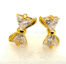 fashion1uk 24K Yellow Gold Plated Simulated Diamond Small Bow Stud Earrings