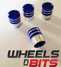 Blue and Silver Striped Aluminium Valve Caps Suitable For OPEL Car's Van's SUV