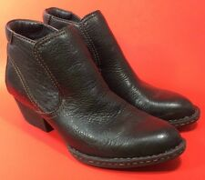 "Born Black Pebbled Leather ANKLE BOOTS 2"" Heel Elastic Gusset Size 6 1/2 37 GUC"