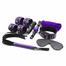 High Quality Black & Purple Fur Bondage Set Kit-blindfold collar ball gag fetish