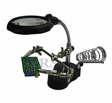 MAGNIFIER WITH 2 LED LIGHTS 4X 12X SOLDERING STATION STAND ALLIGATOR CLIPS CLAMP