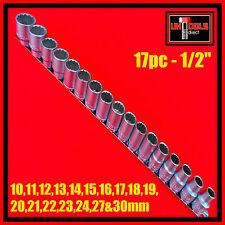 "17pc Socket Set Metric 1/2"" Drive Bi- Hex 12 point CRV 10 - 30mm"
