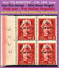 4 stamps PSI-MANTOVA 1945 CLN plate-block numbers in excellent condition (#913)