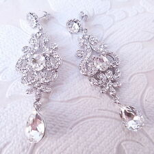 Long Art Deco 1920s Style Crystal Bridal Chandelier Earrings Rhinestone Wedding