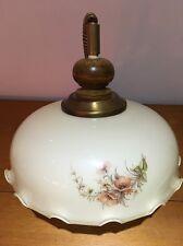 GRANDE Vintage Floreale Vetro Ciondolo Luce Ombra raccordo rovere Top Volant Base
