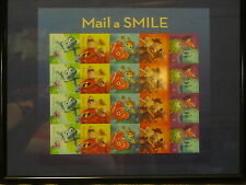DISNEY MAIL A SMILE assorted NEMO TOY STORY BUG'S LIFE US stamps framed metal