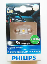 1 X PHILIPS X-TREME VISION LED 128584000KX1 Festoon 38mm 4000K white