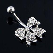 1pcs piercing nombril luxe papillon noeud diamant pendant en Acier Inoxydable GF