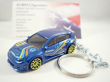 2011 2012 SUBARU WRX STI Blue Sports Car Yellow Rims Key FOB Keychain Keyring