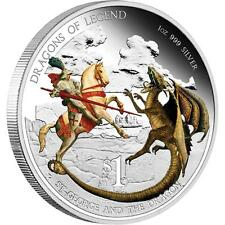 2012 $1 Dragons of Legend.St George and Dragon.1oz Silver Proof Coin Perth Mint