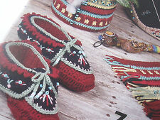 Native American Crochet Pattern Book Boots Slippers Caddy Booties with Pony Bead