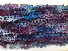 Cotton lace hand dyed 1 inch wide eggplant fuchsia and blue -unusual pattern