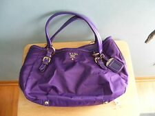 Authentic Prada Purple Nylon & Leather Tote Shopper Bag Handbag Purse
