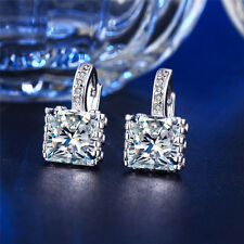 White Gold Plated Square Rhinestone Hoop Earrings Clip on