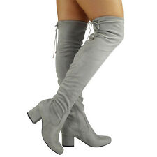 WOMENS LADIES THIGH HIGH OVER THE KNEE BOOTS LACE UP LONG LOW HEEL SHOES SIZE