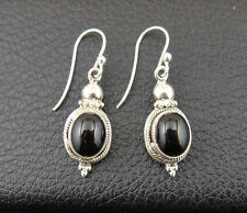 Onyx in Sterling Silver 925 Drop Dangle Earrings Handcrafted from India 003