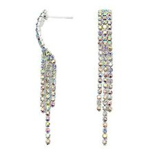AB rainbow diamante earrings sparkly rhinestone party bridal prom dangly  0366