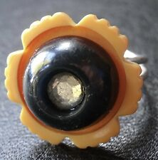 vintage 1930s art deco BAKELITE amber & black flower STERLING SILVER ring -C906